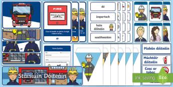 The Fire Station Aistear Display Pack-Irish - Stáisiúin Dóiteáin, fireman, firefighter, play, role, role play, fire engine, oral language