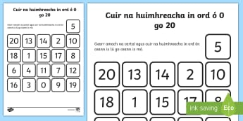Ordering Numbers from 0 to 20 Worksheet / Activity Sheet Gaeilge -  Gaeilge, Irish, ordering, numerals, numbers, digits, zero to twenty, 0, 20, cutting, sticking, math