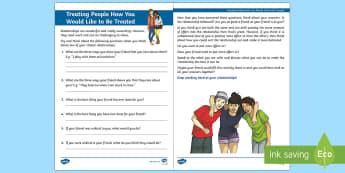 Treating People How You Would Like to Be Treated Activity Sheet - friendships, relationships, Resolution, discussion, emotions, behaviour, transition, PSHCE, workshee