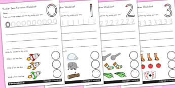 Number Formation Worksheets - number, formation, writing aid, overwriting