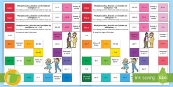 Pack de recursos: Juegos de mesa de multiplicación y división - tablas de multiplicar, juegos, avanzar, trabajo en grupo, compañeros, mates, matemáticas,,Spanish