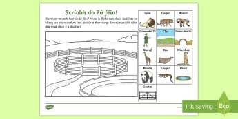The Zoo Aistear Draw Your Own Zoo Activity Sheet Gaeilge - Aistear, Infants, English Oral Language, worksheet, Irish, Zoo, Activity Sheet, Drawing, Design,Iris