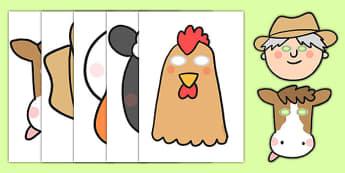 Farmer and Duck Role Play Masks - farmer duck, role play, masks, role play masks, farmer duck role play, farmer duck masks, masks for role play, role playing