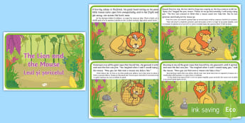 The Lion and the Mouse Story English/Romanian - The Lion And The Mouse Story - story, lion, mouse, kindness, kindess, EAL