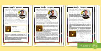 KS2 Jennifer Lawrence Differentiated Reading Comprehension Activity - Drama, Movies, Actress, star,USA, Film, career, Acting career, award, T.V show, biography, ks2 liter