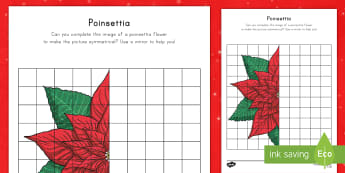 Poinsettia Activity Sheet - poinsettia, square grid, Christmas, math, worksheet, reflection, symmetry, drawing, december, flower