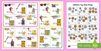 KS1 Addition Toy Shop Bingo  - Toy shop bingo, money, coins, pounds, pence, foundation numeracy, coin, pay, bingo, shop, addition,