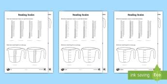 Year 2 Maths Reading Scales Homework Worksheet / Activity Sheet - year 2, maths, homework, measure, scales, measurement, capacity, Worksheet, weight, temperature, rea