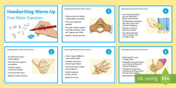 KS2 Fine Motor Handwriting Warm Up Exercise Cards - KS2 Handwriting day 23rd Jan 2017, handwriting warm ups, finger strengthening exercises, finger and