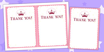 Princess Themed Birthday Party Thank You Cards - traditional tale