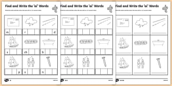 Find and Write the ai Words Differentiated Worksheet / Activity Sheet Pack, worksheet