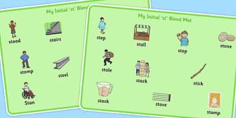 Initial 'st' Blend Word Mats - initial st, blend, word mats, mats