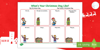 What's Your Christmas Day Like? Worksheet / Activity Sheet - KS1, christmas, celebrations, religious festival, christianity, y1 and y2, worksheet