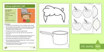 Johnny Appleseed Craft Instructions - Johnny Appleseed, John Chapman, Apples, American Legends, Fall, Craft, Fall craft, Apple Craft
