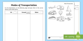 Modes of Transportation Cut and Glue Activity Sheet - Grade 1 Social Studies, social studies, transportation, worksheet, modes of transportation, bus, car