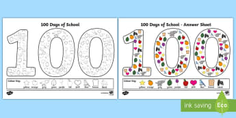 100 Days of School '100' Colouring Page - 100 Days of School, back to school, transition, colouring