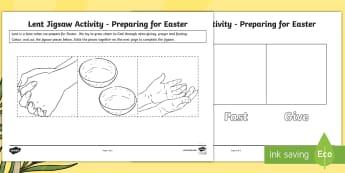 Preparing for Easter Lent Jigsaw Worksheet / Activity Sheet -  Lent, Easter, alms giving, fasting, prayer, preparing  ,Scottish, god, religion, worksheet
