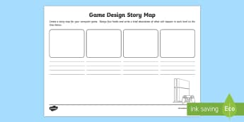 Game Design Story Map Worksheet / Activity Sheet - CfE TechnologiesGame designStory boardStory mapGame levels,Craft, design, engineering and graphics,S