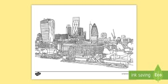 London Skyline Mindfulness Colouring Page - st paul's Cathedral, the gherkin, london eye, the shard, canary wharf