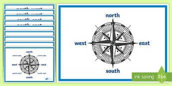 Compass Points Display Posters - compass points, compass, points, display, poster, sign, North, South, East, West, four compass points, KS2, geography, direction