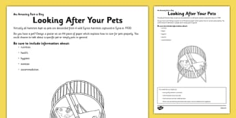 Looking After Your Pets Activity Sheet - animals, care, caring, research, writing frame, writing, activity, worksheet