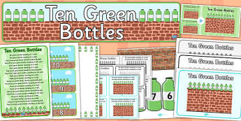 Ten Green Bottles Resource Pack - ten green bottle, resource pack, pack of resources, themed resource pack, ten green bottles pack, resource, nursery rhyme