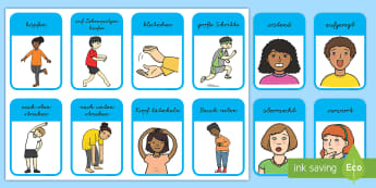 Bewegungen und Gefühle Wort- und Bildkarten - Emotionen, fühlen, bewegen, Kommunikation, Karten, German