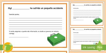 Informe de accidente  - informe, accidente,Spanish
