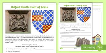 Belfast Castle Coat of Arms Read and Draw Activity Sheet - World Around Us KS2 - Northern Ireland, Belfast, History