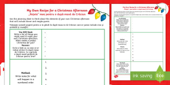 KS2 A Recipe for a Christmas Afternoon Activity Sheet English/Romanian - Christmas, Poem, Poetry, Alliteration, Instructions, holidays, winter, worksheet, EAL, worksheet