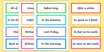Fronted Adverbials Word Cards - fronted adverbials, word cards, word, cards, adverbials