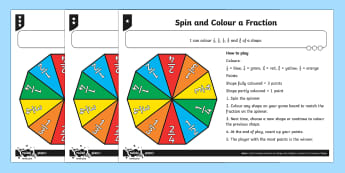 Spin and Colour a Fraction Game Differentiated Activity Sheets - Fractions, strategy, 1/2, 1/4, 1/3, 2/4, 3/4, reasoning, half, halves, quarter, shape, colour