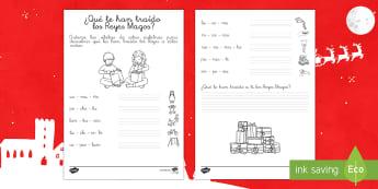 Ficha de actividad: Ordena sílabas -¿Qué te han traído los Reyes?  - Reyes, juguetes, sílabas, palabras, vocabulario clave, escritura.,Spanish