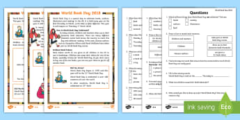 KS1 World Book Day Differentiated Reading Comprehension Activity - bookday, book day resources, world book day text, world book day information, world book day fact fi