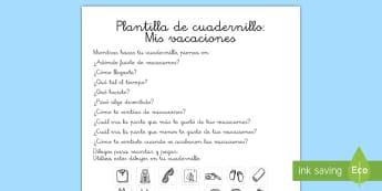 Plantilla de cuadernillo: Mis vacaciones - verano, vacaciones, summer, holidays, sol, sun, playa, beach,Spanish
