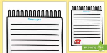 Pediatrician Telephone Messages Form - pediatrician, role-play, form, telephone, messages, pretend, hospital, doctor, nurse, notes, list, w