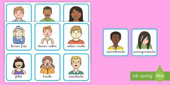 Tarjetas de vocabulario: Las emociones - emociones, sentimientos, sentir, emoción, feliz, triste, avergonzado, emocionado, confundido, cansa