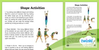 Twinkl Move - Year 3 Gymnastics: Shape Home Learning Tasks - Gymnastics, shape, Y3, KS2, stretched, tucked, wide, rhythmic gymnastics, strength