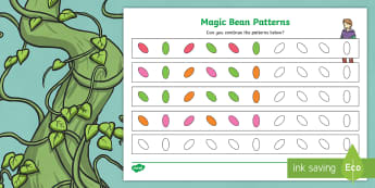 Jack and the Beanstalk Magic Bean Pattern Worksheet - jack and the beanstalk, magic bean, pattern worksheet, patterns, worksheet, themed worksheet