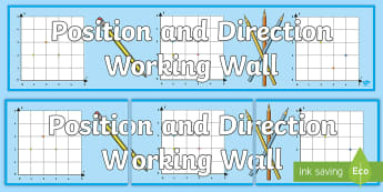 LKS2 Position and Direction Working Wall Display Banner - maths display, classroom display, co-ordinates, coordinates, first quadrant, translation