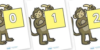 Numbers 0-31 on Monkeys - 0-31, foundation stage numeracy, Number recognition, Number flashcards, counting, number frieze, Display numbers, number posters
