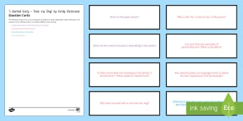 'I started Early - Took my Dog' by Emily Dickinson Question Cards  - GCSE English Literature, Time and Place Cluster, Edexcel Poetry, Poetry Exploration, Exam Practice,