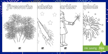 Extra Large Fireworks/Bonfire Night Colouring Pages - bonfire night, guy fawkes, EYFS, KS1, sparklers,