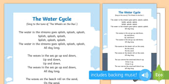 The Water Cycle Song - EYFS Water, water cycle, rain, rivers, sea, oceans, vapor, evaporation, condensation, clouds, singin