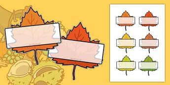 Editable Self Registration Labels (Autumn Leaves) - Display, editable, label, topic, Autumn, seasons, autumn pictures, autumn display, leaves, acorn, conker, atumn