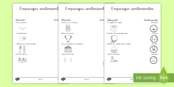 Ficha de actividad: Emparejar emociones y situaciones - Emotions Activity Worksheets - activities, worksheet, feelings, emtions, pictures of people frieghte