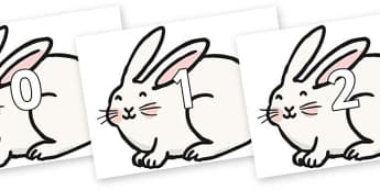 Numbers 0-100 on Chinese New Year Rabbit - 0-100, foundation stage numeracy, Number recognition, Number flashcards, counting, number frieze, Display numbers, number posters