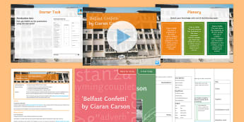 GCSE Poetry Lesson Pack to Support Teaching on 'Belfast Confetti' by Ciaran Carson - Poetry, EDEXCEL, Belfast, Confetti, Ciaran Carson, KS4, Literature