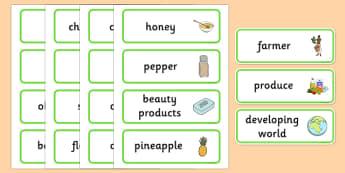 Fairtrade Word Cards - fairtrade, word cards, keyword, visual aid
