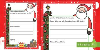 Wunschliste an den Weihnachtsmann Schreibvorlage-German - Weihnachten, Wünsche, wünschen, Geschenke, Advent, Dezember, Liste,,German